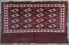 "16 gul Yomud Chuval. Excellent 100% natural colors, silky wool, good pile, good condition. C.1870. Granular, dry back with tight handle. Washed. No repair. Size: 46"" x 29"" (117 x 74cm)"