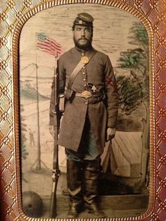 1860s-CIVIL-WAR-Tinted-TINTYPE-of-ARTILLERY-Corporal-w-PISTOL-Musket-FLAG-Camp