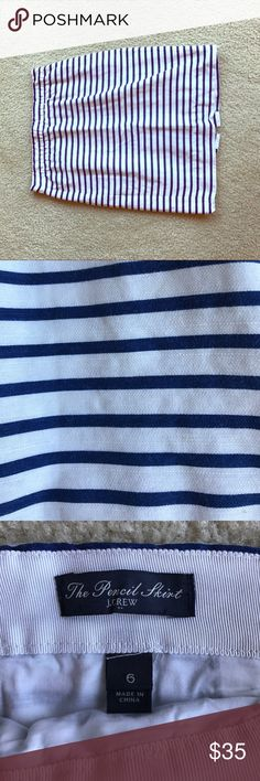 J. Crew Blue & White Striped Pencil Skirt Sz 6 This blue and white lined skirt is perfect for the spring, summer, and fall months. This skirt has been worn to work many times, but it is in great condition and does not show any sign of wear. J. Crew Skirts Pencil