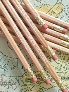 Create Happiness™ Wood Pencil 6 Pack by Earmark Social Goods Inc.