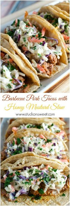 Pork Tacos with Honey Mustard Slaw Barbecue Pork Tacos with Honey Mustard Slaw - Stuck On Sweet---going for the slaw! Looks amazing!Barbecue Pork Tacos with Honey Mustard Slaw - Stuck On Sweet---going for the slaw! Looks amazing! Slow Cooker Recipes, Cooking Recipes, Healthy Recipes, Spinach Recipes, Crockpot Pork Tacos, Slow Cooker Pulled Pork Recipe, Cooking Ribs, Slow Cooker Tacos, Tacos Au Porc