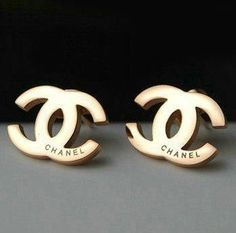 Chanel rose gold stud earrings. #shopandboxit