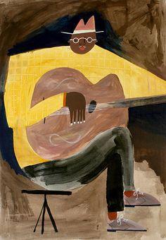 the blues man | Flickr  Rob Hodgson illustration