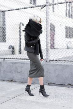 "justthedesign: ""Midi skirts are in this season. Wearing a dark coloured skirt together with nude tights and ankle boots creates a sophisticated and elegant feel, perfect for a cute work outfit. Via..."