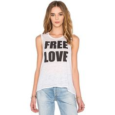 Chaser Free Love Tank ($59) ❤ liked on Polyvore featuring tops, white, burnout tops, burn out tops, burn out tank, scoop neck sleeveless top and scoop neck tank