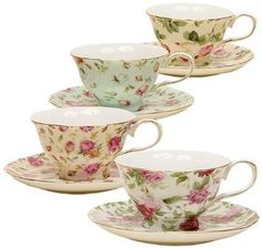 Amazon.com: Gracie China Rose Chintz 8-Ounce Porcelain Tea Cup and Saucer, Set of 4: Home & Kitchen  buy a few different sets of teacups. mismatchy. i am loving this tea party birthday idea!