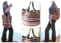 Ravelry : gabyv's Crochet bag. Fantastic bag ! Free pattern from Attic 24 and notes on this particular project for her change to the handles.