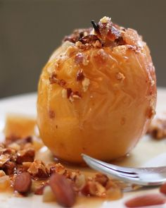 Baked Apple Stuffed with Candied Ginger and Almonds