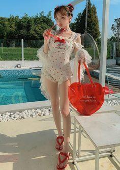 Girly fashion heart lace ruffle one piece … – Women's Style Kawaii Fashion, Lolita Fashion, Cute Fashion, Cute Girl Dresses, Girl Outfits, Cute Outfits, Cute Asian Girls, Cute Girls, Ropa Interior Babydoll