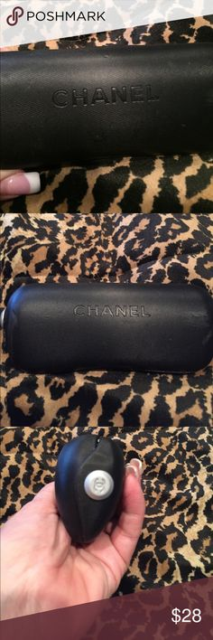 Authentic Chanel Sunglasses Case Very pretty authentic black Chanel sunglasses case, Chanel hardware on sides, label inside and inside is in very good condition, a couple of little marks on the front at the corner and a couple of little marks on the back.  These imperfections are not tears or scratches and this glass case is in very good condition. CHANEL Accessories