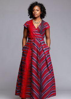 Hadiya African Print Faux Wrap Maxi Dress (Red/Grey)- Clearance at Diyanu African Formal Dress, African Maxi Dresses, Ankara Dress Styles, African Traditional Dresses, Maxi Gowns, African Attire, African Wear, Formal Dresses, African Style