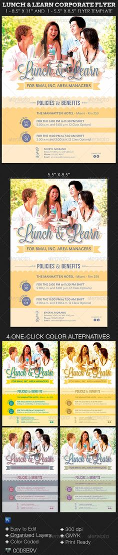 The Lunch and Learn Corporate Flyer Template is customized for business that want a fun invitation to a corporate meeting or special event. The retro theme can be used for other types of events with simple changes. You can change colors easily by editing the included color options. $6.00