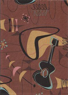 Jetson Coco Tropical Hawaiian Fabric. Atomic, Mid-Century modern, abstract boomerang, fifties, 50's, ukulele pattern on a nubby bark cloth upholstery fabric. See more fabrics at: BarkclothHawaii.com