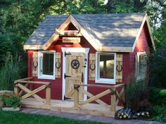 garden shed, classic model in red, original decor Source by malicefamily Build A Playhouse, Playhouse Outdoor, Wooden Playhouse, Playhouse Ideas, Play Houses, Bird Houses, Contemporary Kids Toys, Garden Huts, Tiny House Nation