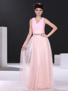 A-line V-neck Floor-length Pink Tulle Prom/Evening Dress ED594