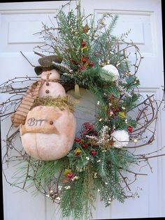 RUSTIC WINTER SNOWMAN, 'BRR' SIGN, SNOWBALLS, DOOR WREATH