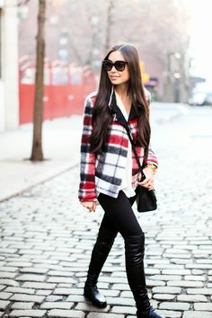 Love the plaid jacket and the boots! Plaid Outfits, Fall Fashion Outfits, Love Fashion, Winter Outfits, Nice Outfits, Fashion Beauty, Womens Fashion, Tartan, Cold Weather Fashion