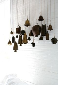 Stringing old cowbells would make lovely up-cycled wind chimes.  NATURE'S MUSIC