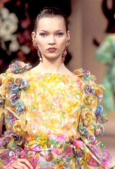 Kate Moss on the runway for Yves Saint Laurent haute couture, Spring 1993.