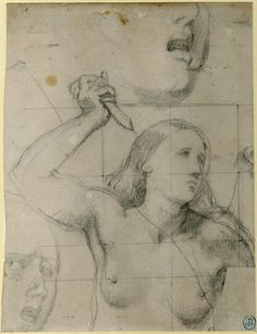 Study of a nude woman holding up a dagger; HL, head turned to r, r arm raised clutching a dagger, separate studies of faces above and lower l Graphite, on grey paper, squared
