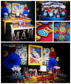 Wonder Woman themed birthday party with Lots of Really Cute Ideas via Kara's Party Ideas! full of decorating ideas, decor, desserts, cakes, ...