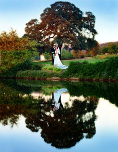 Ponce's Portraits - Wedding Bride and Groom Reflection at Whitney Oaks Country Club