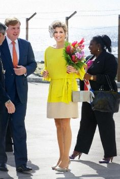 King Willem-Alexander and Queen Maxima of The Netherlands arrive at the airport of the island of Saba, 14 Nov 2013.