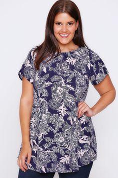 Navy & Pale Pink Floral Print Short Sleeve Longline Top