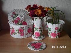 Komplekt - Korb, Vase, Blumentopf und Untersetzer