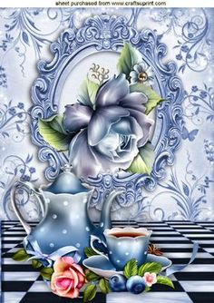 BLUE ROSES WITH TEAPOT CUP IN FRAME A4 on Craftsuprint - Add To Basket!
