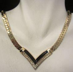 "Striking 16""x1/2"" Signed Dior Gold Tone Rhinestone Enamel Statement Necklace A19"