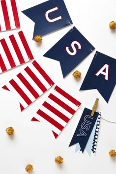 Free Printable USA Banner for the Fourth of July via @PagingSupermom.com.com.com #Patriotic