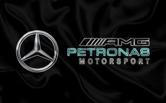 Download wallpapers Mercedes-AMG Petronas Motorsport, 4k, F1, silk flag, racing team, Formula 1, Mercedes, racing
