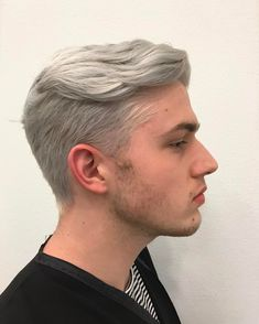 Grey men\'s hair color and dramatic gentlemen undercut hairstyle ...