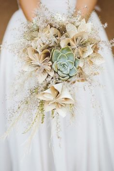 Book Pages of Origami Flowers - Statement Bouquets for Your Walk Down the Aisle - Photos