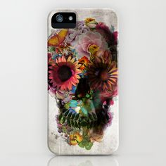 "And death became beautiful. Pick up this stunning ""SKULL 2"" iPhone case by Ali GULEC, available for several iPhone generations and Samsung Galaxy at Society6."
