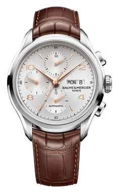 Baume et Mercier Clifton Chronograph Silver dial Gold Handset on Brown