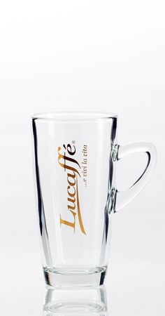 Lucaffé Latteglas mit Henkel Latte, Pint Glass, Beer, Mugs, Glasses, Tableware, Eyewear, Ale, Dinnerware