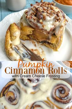 Pumpkin Cinnamon Rolls with Cream Cheese Frosting - the perfect fall-infused twist to the classic breakast roll! Pumpkin Recipes, Fall Recipes, Sweet Recipes, Holiday Recipes, Fall Desserts, Just Desserts, Dessert Recipes, Pudding Recipes, Brunch Recipes