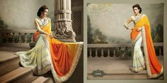 Very beautiful Wedding saree. Cream and Orange colored Viscose with beautiful heavy embroidery work Pallu. Along with Contrast Matching Netted Skirt and Embroidered Netted Blouse