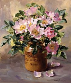 Wild Roses in a Mustard Jar - Limited Edition Print | Mill House Fine Art – Publishers of Anne Cotterill Flower Art