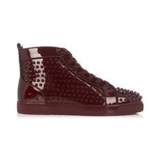 Christian Louboutin Louis Orlato spike-embellished high-top trainers (26926925 BYR) ❤ liked on Polyvore featuring men's fashion, men's shoes, men's sneakers, burgundy, shoes, mens high top shoes, mens spiked sneakers, christian louboutin mens shoes, christian louboutin mens sneakers and mens spiked shoes