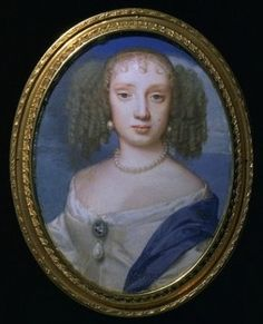 Miniature of Henriette, Minette, duchesse d'Orleans (1644-1670), wife of Philippe d'Orleans, 1660-61 by Samuel Cooper (1609-1672)