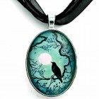 Raven in Teal Silhouette Handmade Jewelry Art Pendant  http://alltypesofcrystals.com/raven-in-teal-silhouette-handmade-jewelry-art-pendant/