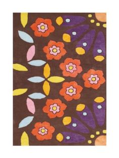 ZnZ Rugs Gallery, 30022_5x8, Hand Made ChocoBrown New Zealand Blend Wool Rug, 1, Purple, Pink, Yellow, Turquoise, Tomato Red , 5x8'