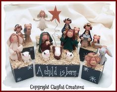 Becky's Polymer Clay  7 Piece Nativity by clayfulcreations on Etsy