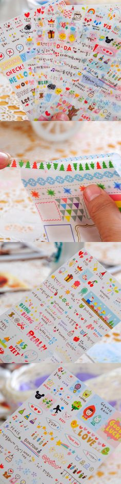 6 sheets / lot , Printing Life Korean Style Cute kawaii Pink Planner stickers For Notebook Paper Mobile Phone Deoration