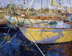 Portfolio   Between Wind & Water: Diane Ainsworth, Wooden Boat Shadows, oil, 24 x 30.