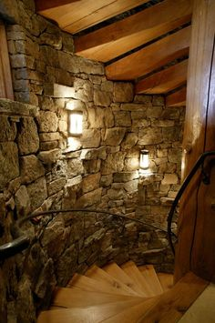 Edgewood Custom Log Homes @styleestate - One of the most stunning Log Home Galleries on the internet. Love the natural stone staircase!