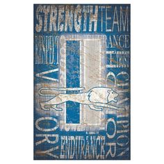 "NFL Detroit Lions Heritage Word Collage 11"" x 19"" Sign"